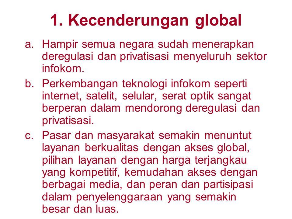 1. Kecenderungan global Hampir semua negara sudah menerapkan deregulasi dan privatisasi menyeluruh sektor infokom.
