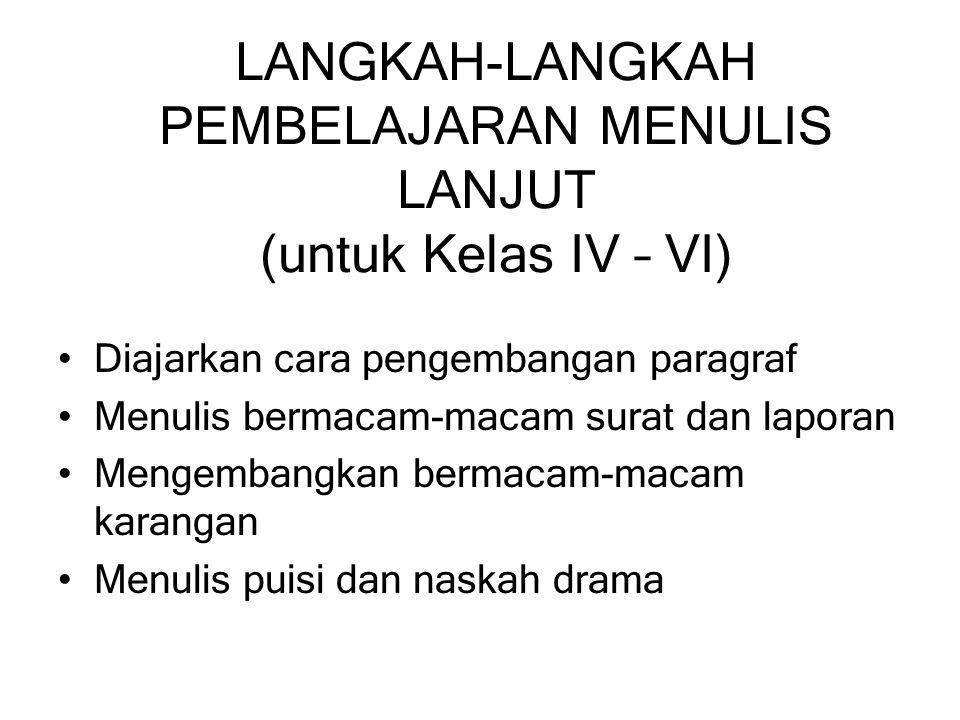 LANGKAH-LANGKAH PEMBELAJARAN MENULIS LANJUT (untuk Kelas IV – VI)