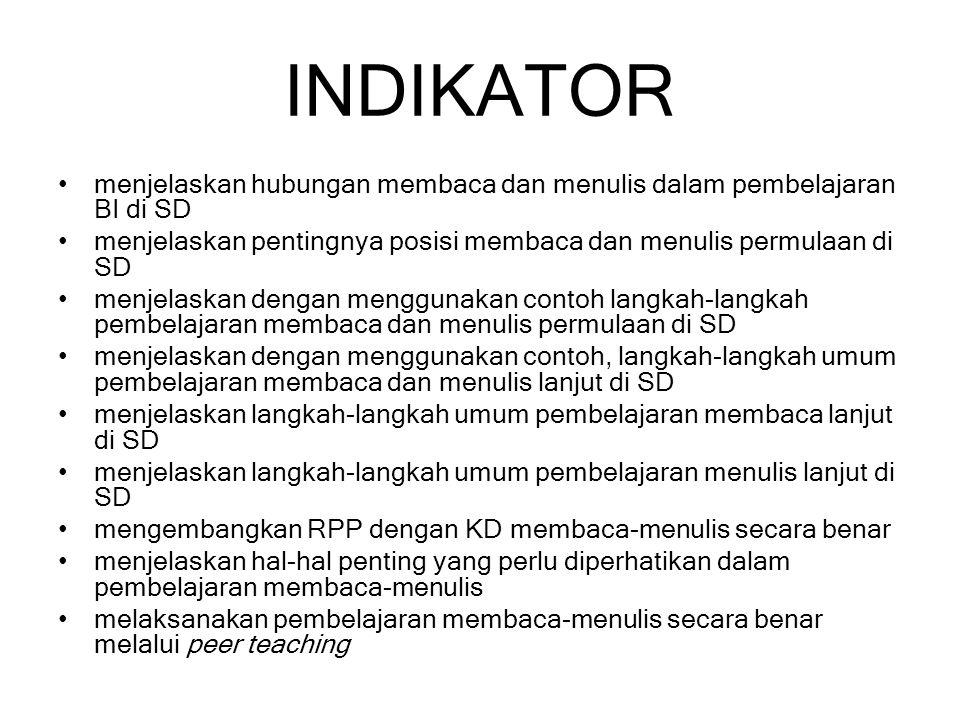 INDIKATOR menjelaskan hubungan membaca dan menulis dalam pembelajaran BI di SD. menjelaskan pentingnya posisi membaca dan menulis permulaan di SD.