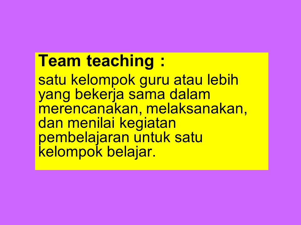 Team teaching :