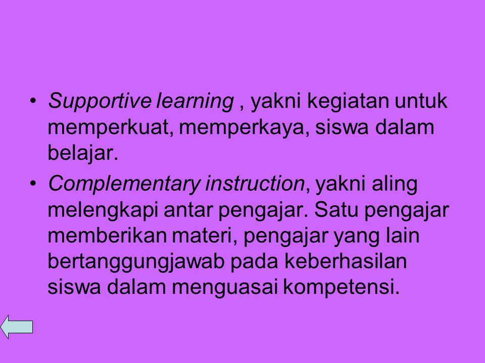Supportive learning , yakni kegiatan untuk memperkuat, memperkaya, siswa dalam belajar.