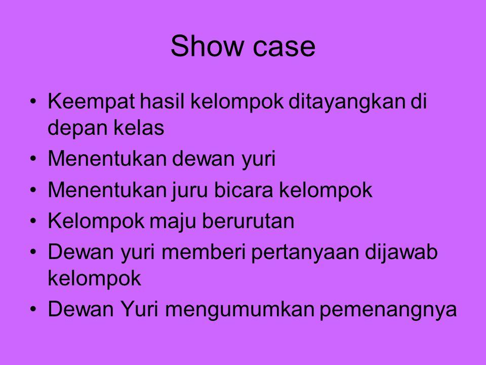 Show case Keempat hasil kelompok ditayangkan di depan kelas