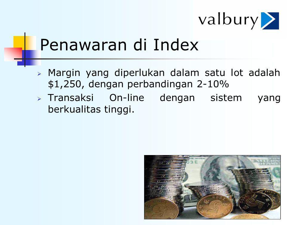 Penawaran di Index Margin yang diperlukan dalam satu lot adalah $1,250, dengan perbandingan 2-10%