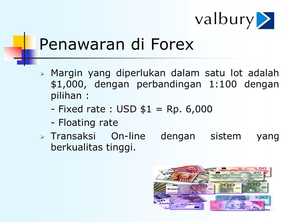Penawaran di Forex Margin yang diperlukan dalam satu lot adalah $1,000, dengan perbandingan 1:100 dengan pilihan :