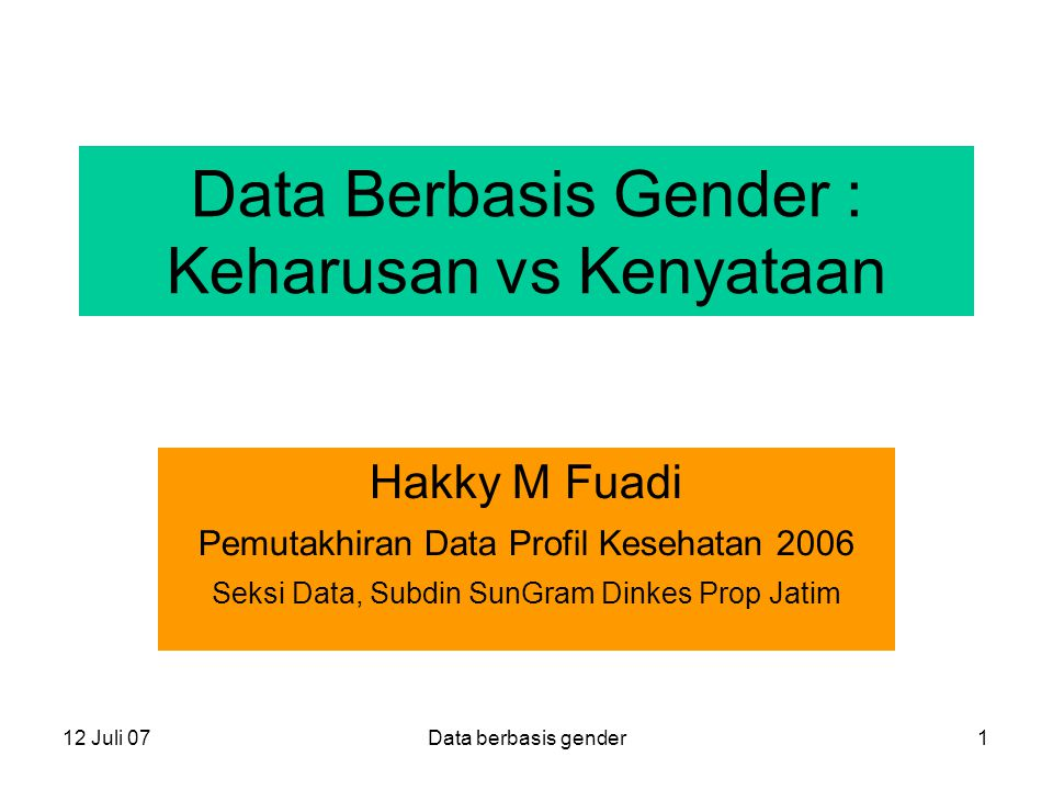 Data Berbasis Gender : Keharusan vs Kenyataan