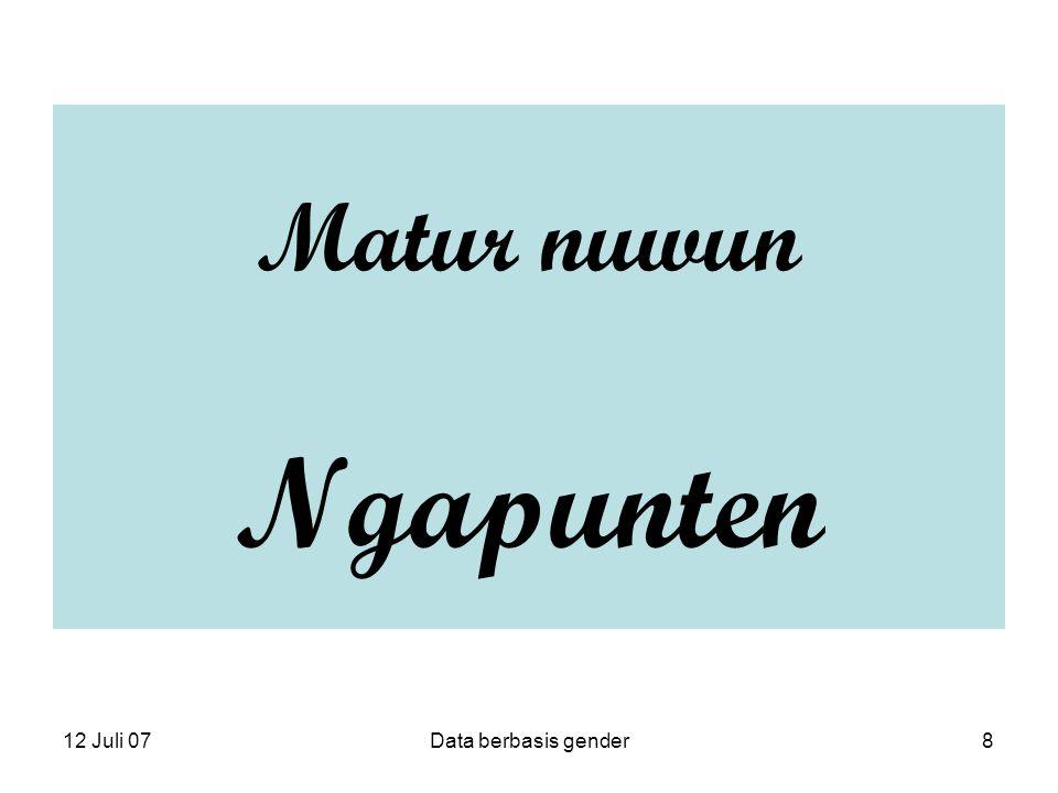 Matur nuwun Ngapunten 12 Juli 07 Data berbasis gender