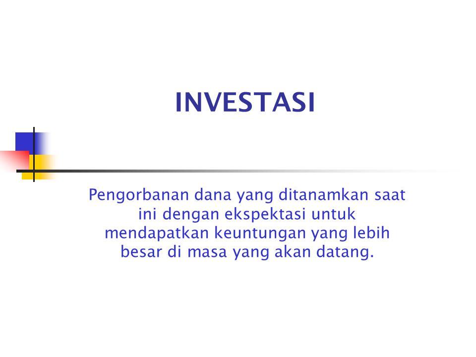 INVESTASI Pengorbanan dana yang ditanamkan saat ini dengan ekspektasi untuk mendapatkan keuntungan yang lebih besar di masa yang akan datang.