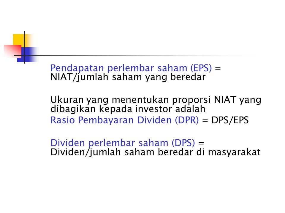 Pendapatan perlembar saham (EPS) = NIAT/jumlah saham yang beredar