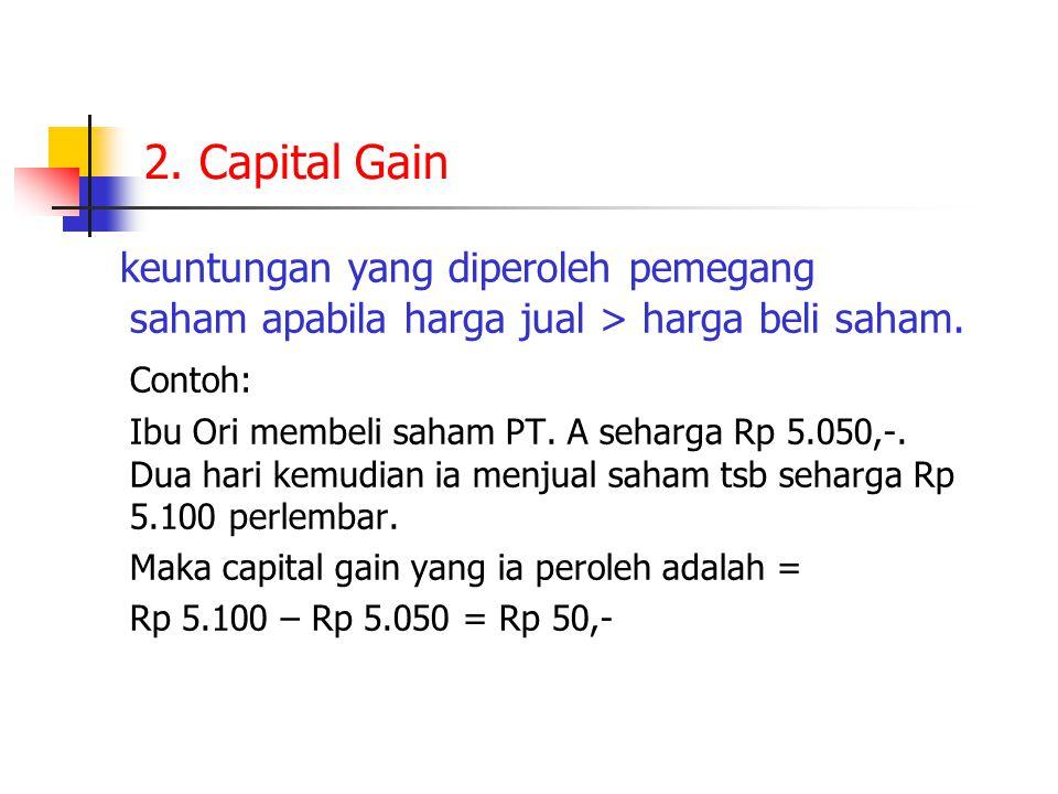2. Capital Gain keuntungan yang diperoleh pemegang saham apabila harga jual > harga beli saham.