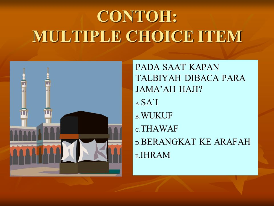 CONTOH: MULTIPLE CHOICE ITEM