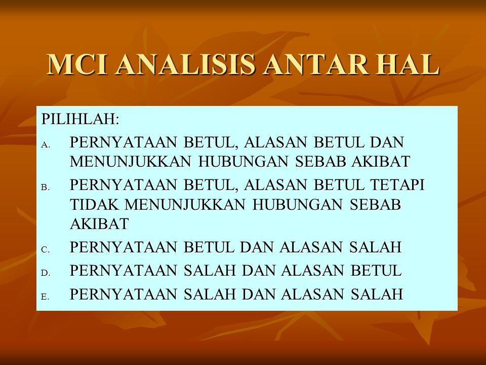 MCI ANALISIS ANTAR HAL PILIHLAH: