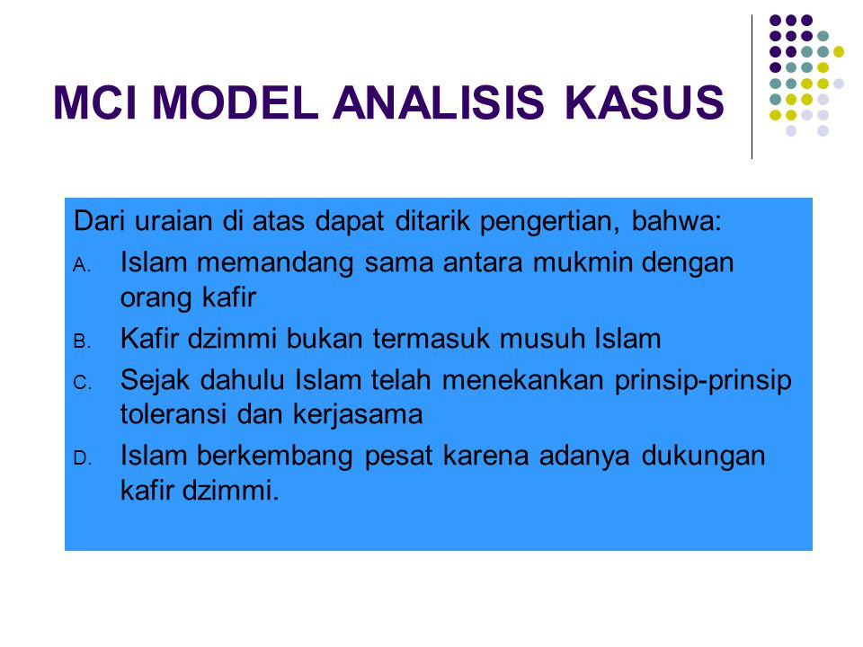MCI MODEL ANALISIS KASUS