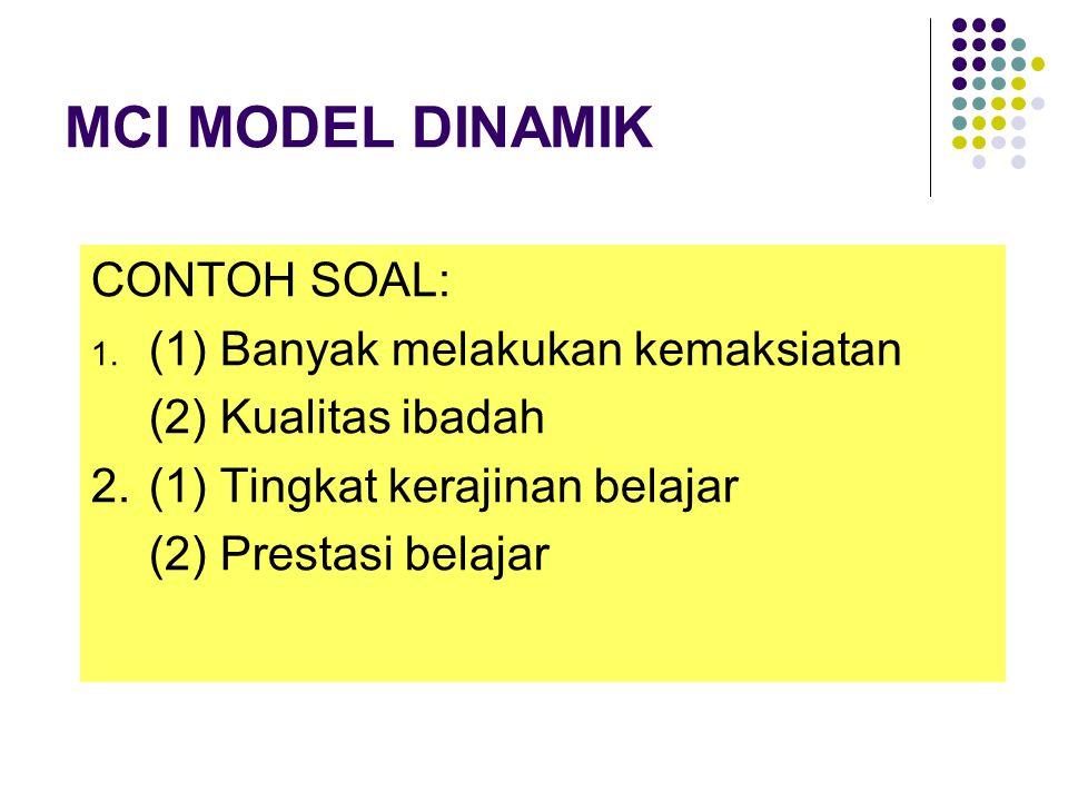 MCI MODEL DINAMIK CONTOH SOAL: (1) Banyak melakukan kemaksiatan
