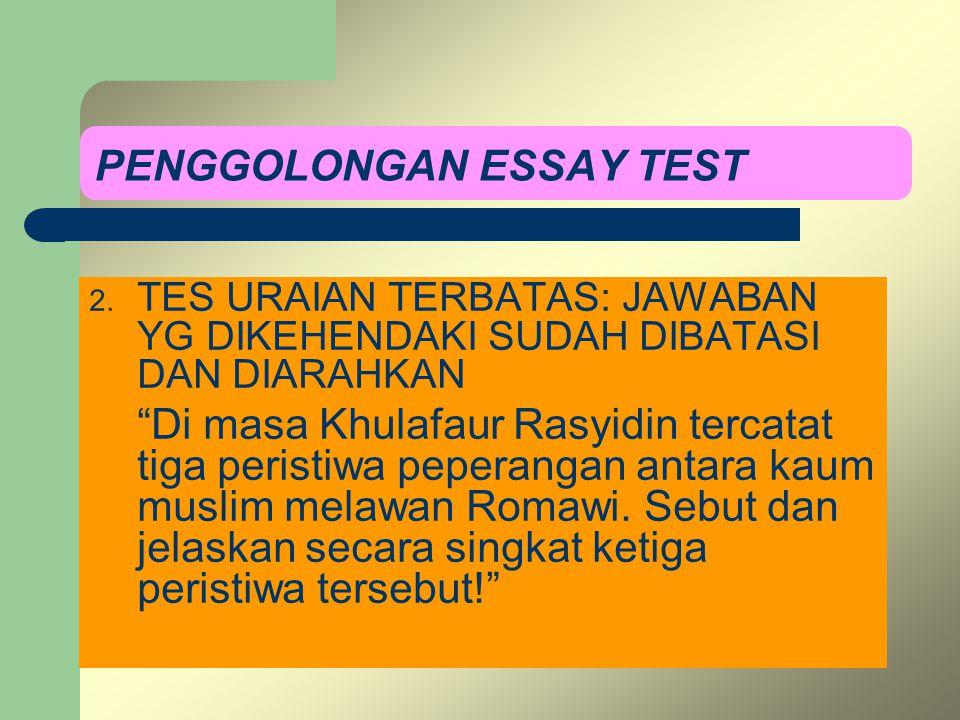 PENGGOLONGAN ESSAY TEST