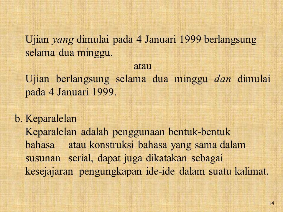 Ujian yang dimulai pada 4 Januari 1999 berlangsung selama dua minggu.