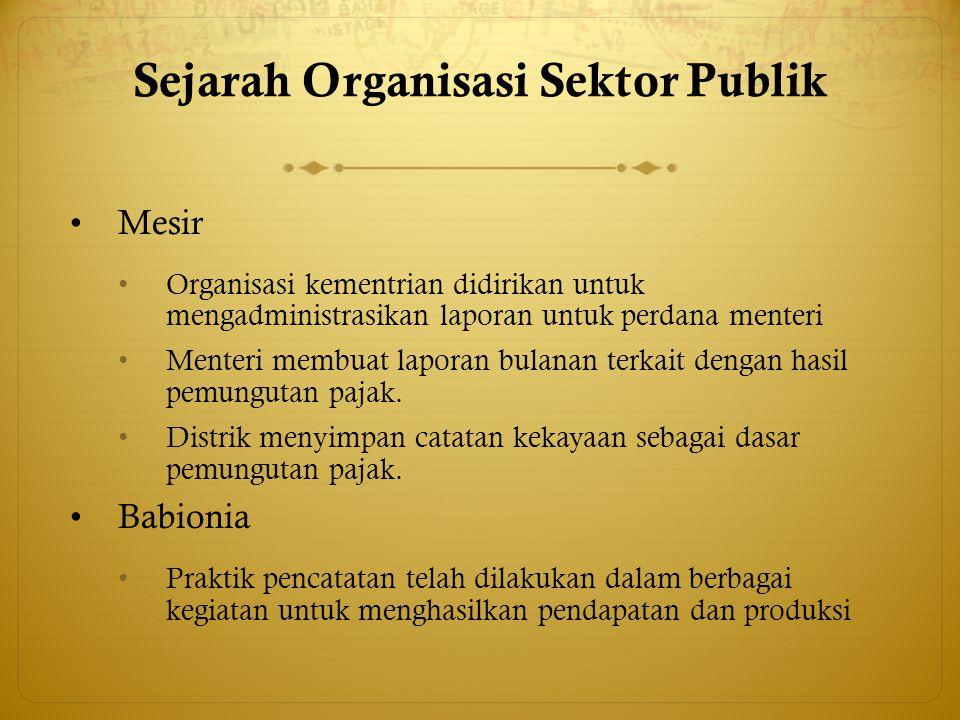 Sejarah Organisasi Sektor Publik