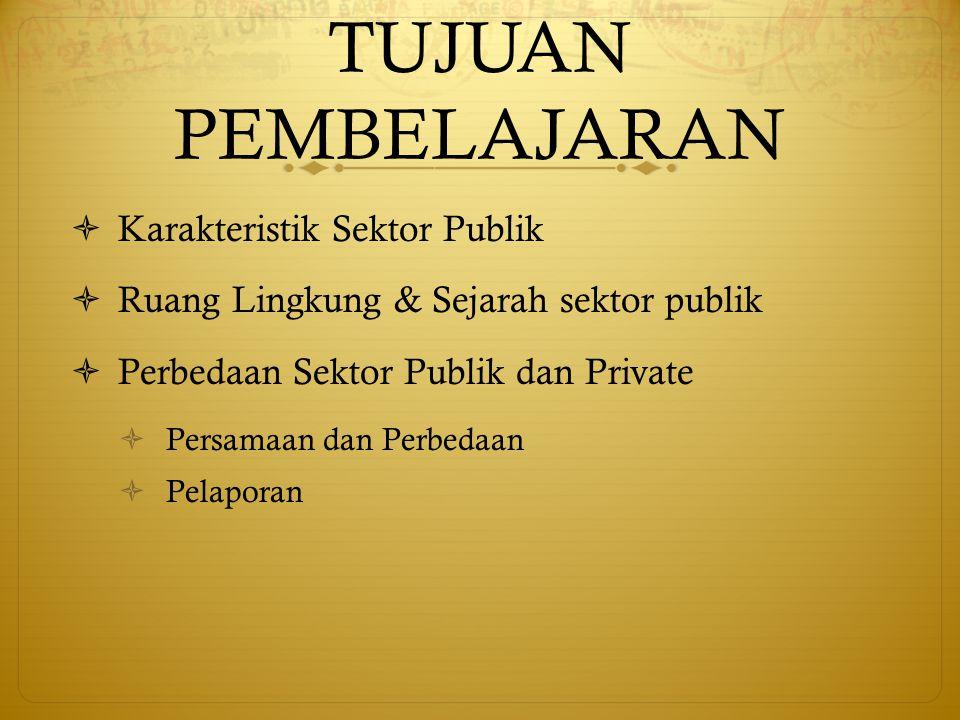 TUJUAN PEMBELAJARAN Karakteristik Sektor Publik
