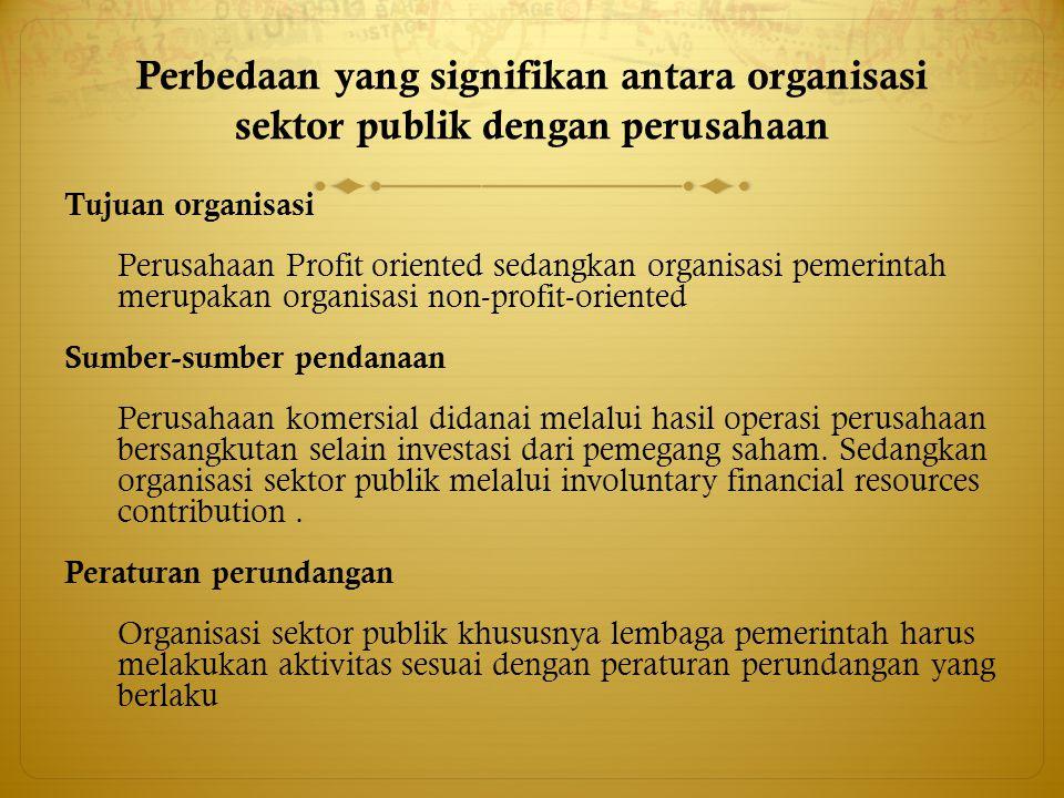 Perbedaan yang signifikan antara organisasi sektor publik dengan perusahaan