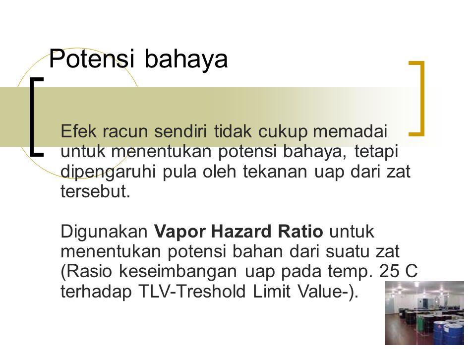 Potensi bahaya Efek racun sendiri tidak cukup memadai untuk menentukan potensi bahaya, tetapi dipengaruhi pula oleh tekanan uap dari zat tersebut.