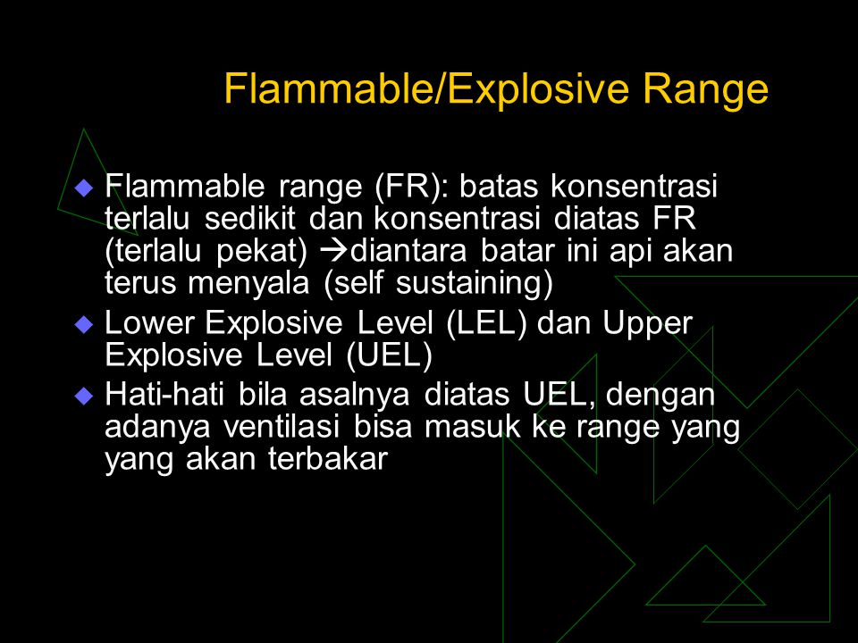 Flammable/Explosive Range