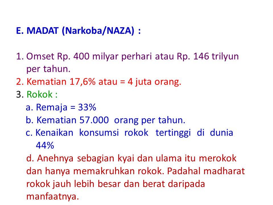 E. MADAT (Narkoba/NAZA) :