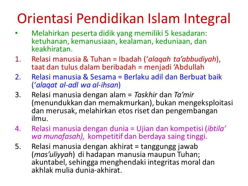 Orientasi Pendidikan Islam Integral
