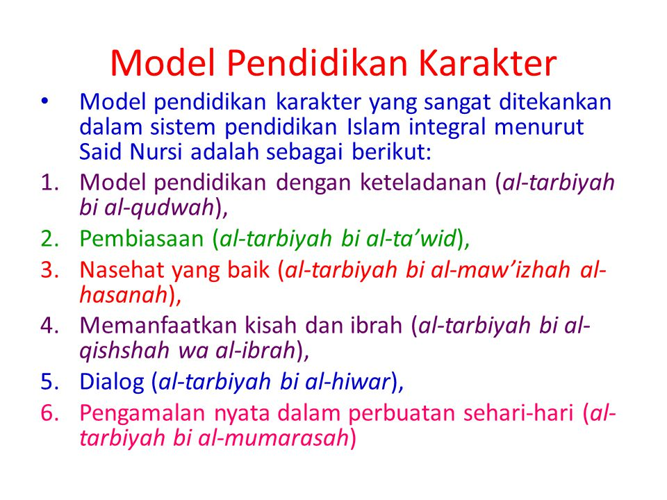 Model Pendidikan Karakter