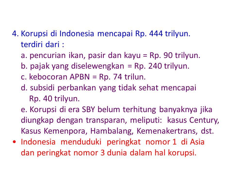 Korupsi di Indonesia mencapai Rp. 444 trilyun. terdiri dari :