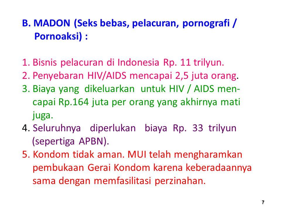 B. MADON (Seks bebas, pelacuran, pornografi / Pornoaksi) :