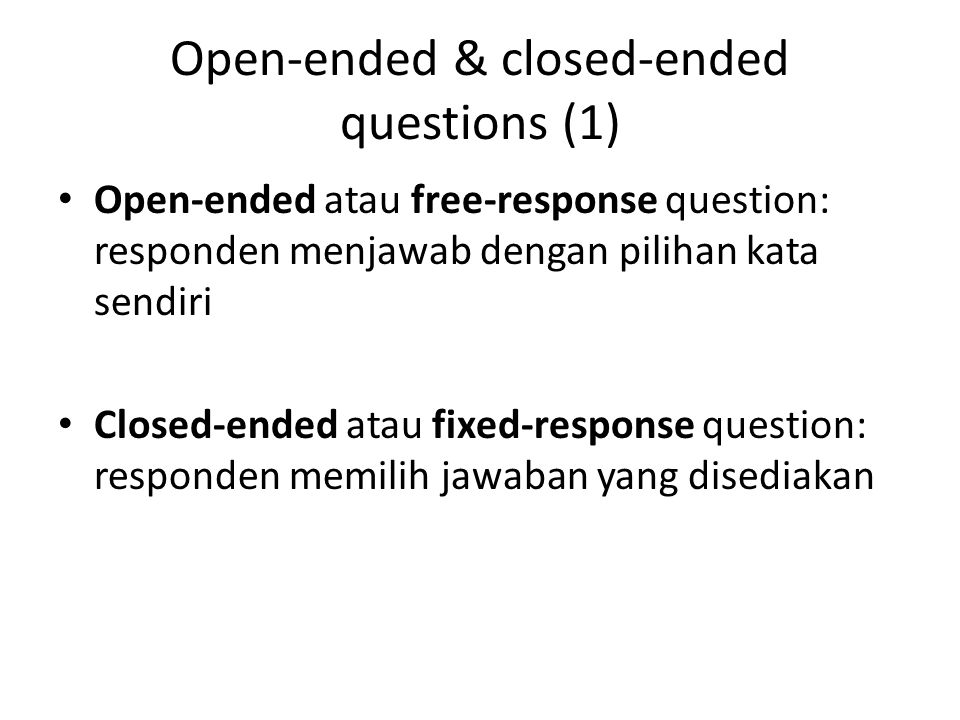 Open-ended & closed-ended questions (1)