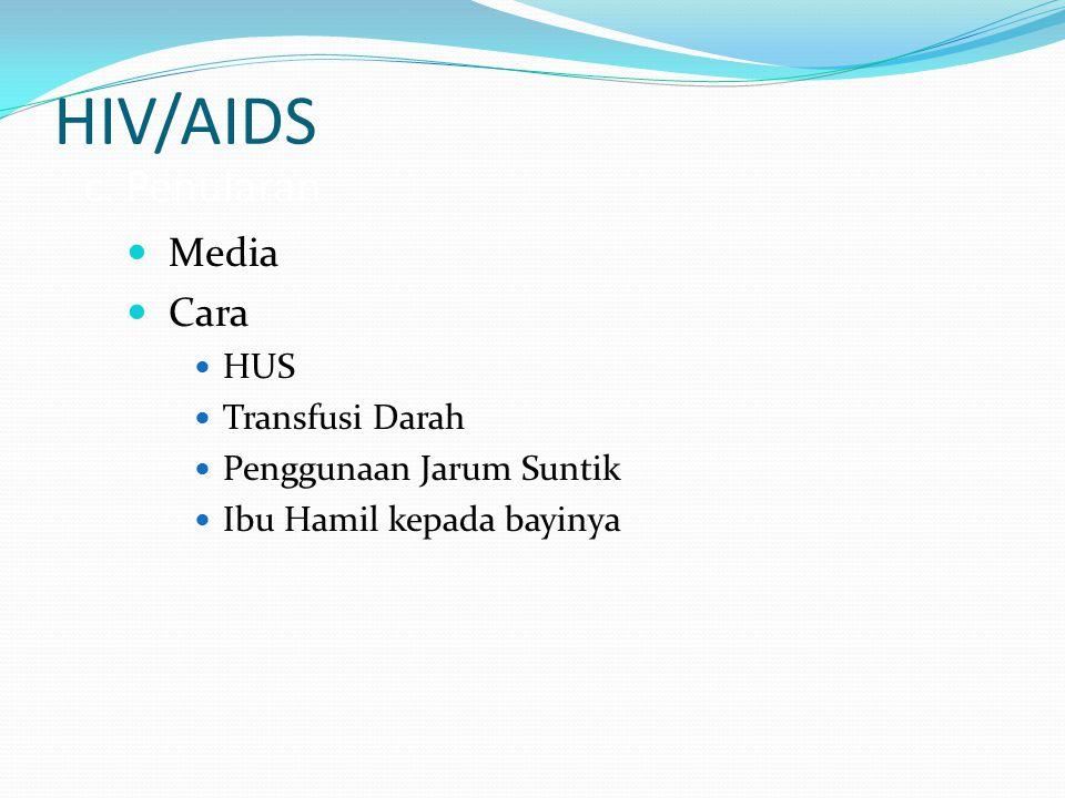 HIV/AIDS c. Penularan Media Cara HUS Transfusi Darah