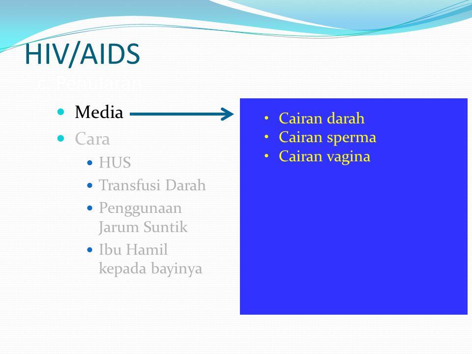 HIV/AIDS c. Penularan Media Cara Cairan darah Cairan sperma HUS