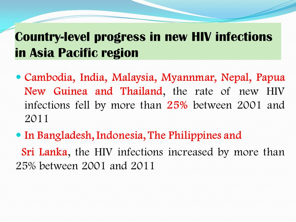 Country-level progress in new HIV infections in Asia Pacific region