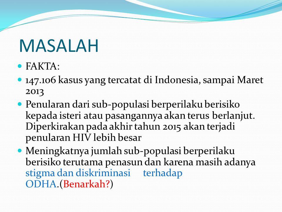 MASALAH FAKTA: 147.106 kasus yang tercatat di Indonesia, sampai Maret 2013.