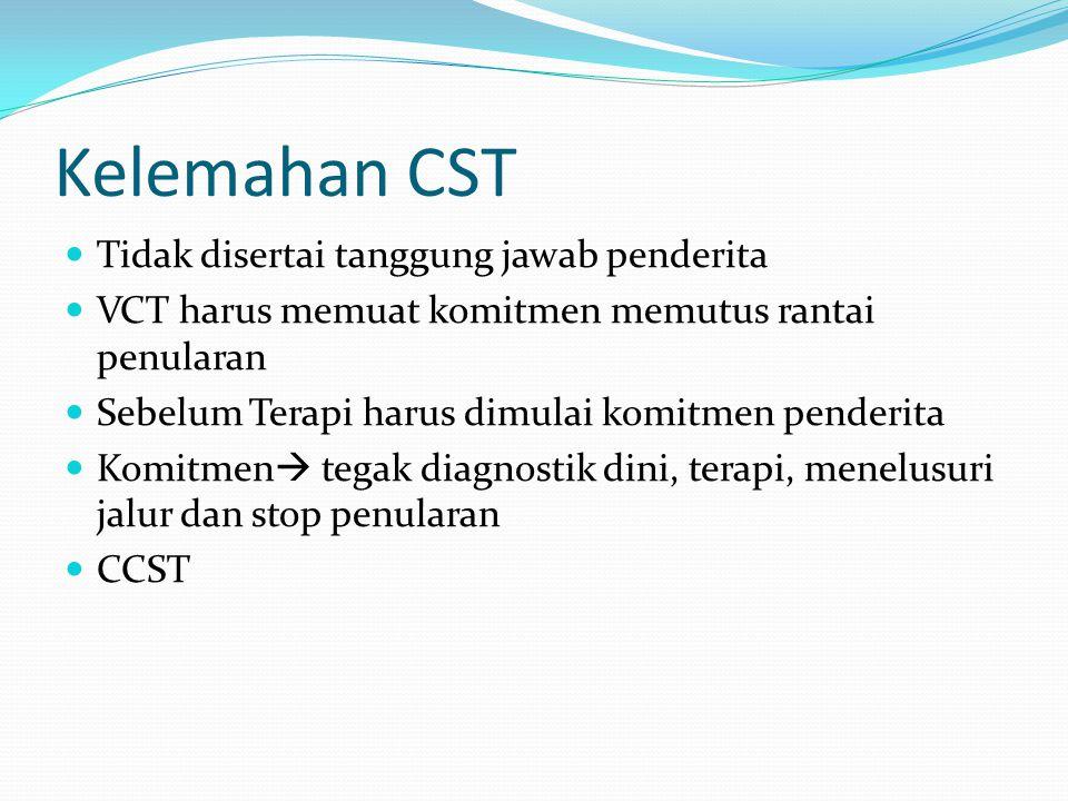 Kelemahan CST Tidak disertai tanggung jawab penderita