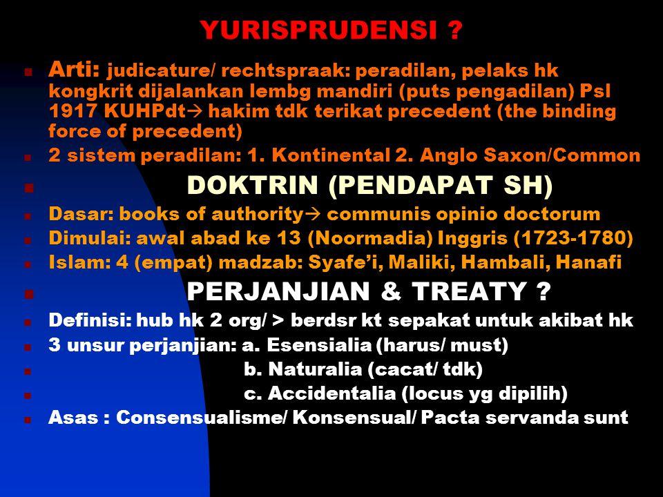 YURISPRUDENSI DOKTRIN (PENDAPAT SH) PERJANJIAN & TREATY