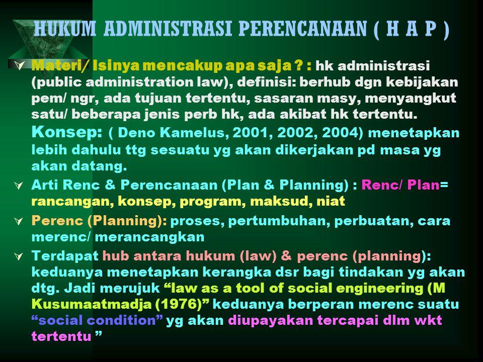 HUKUM ADMINISTRASI PERENCANAAN ( H A P )