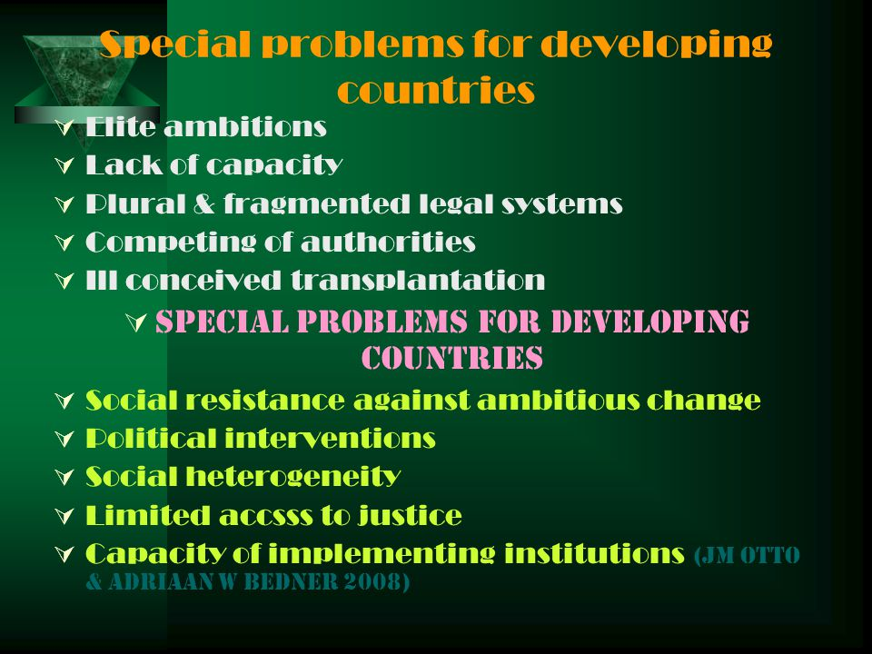 Special problems for developing countries