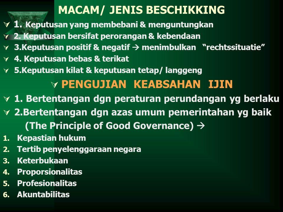 MACAM/ JENIS BESCHIKKING