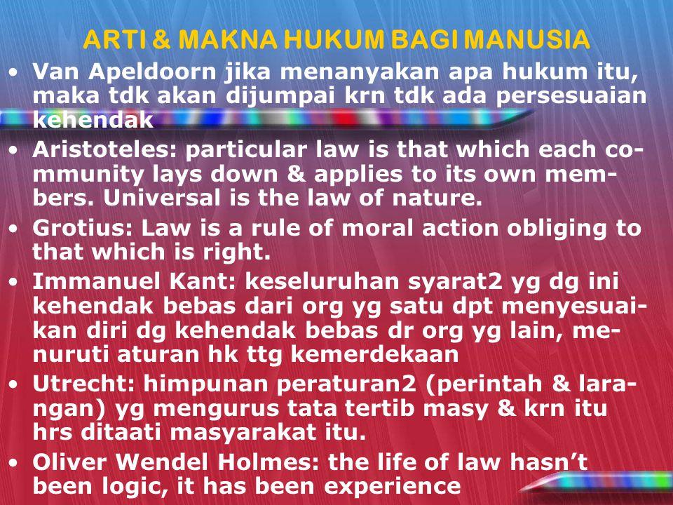 ARTI & MAKNA HUKUM BAGI MANUSIA