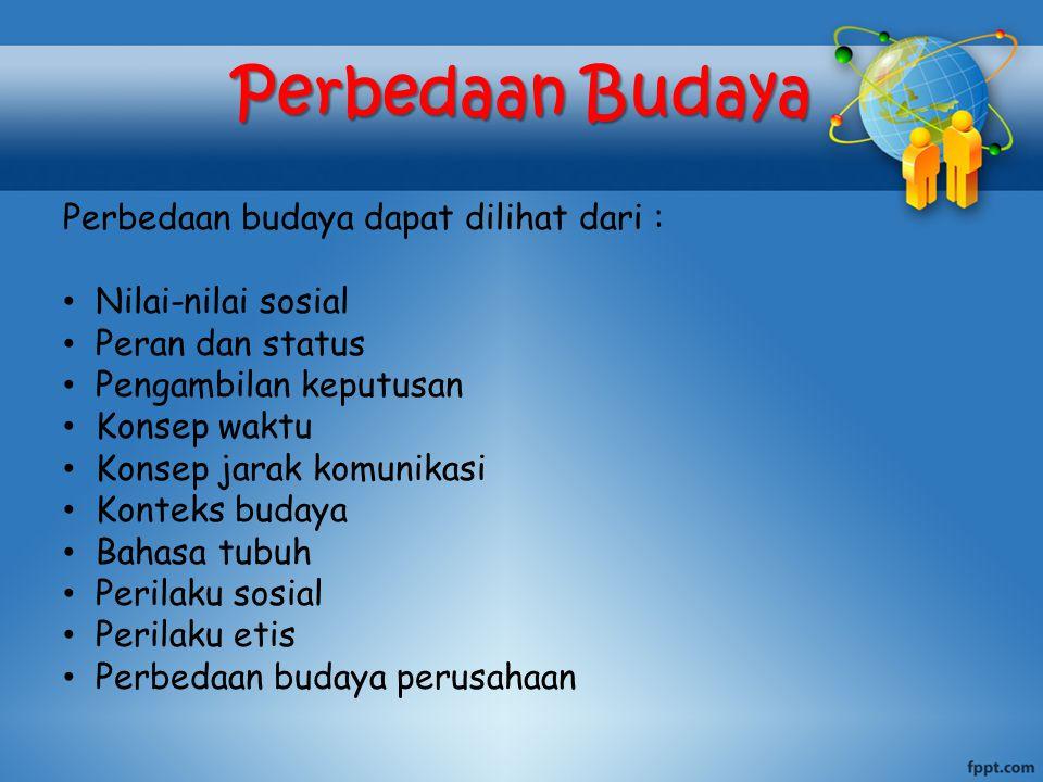 Perbedaan Budaya Perbedaan budaya dapat dilihat dari :