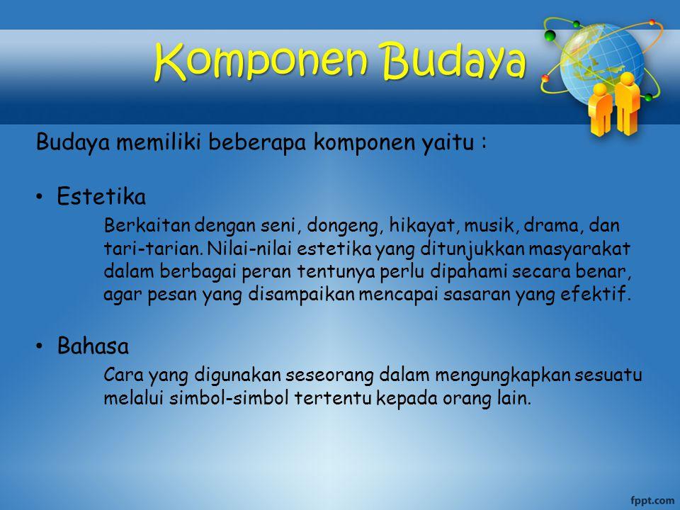Komponen Budaya Budaya memiliki beberapa komponen yaitu :