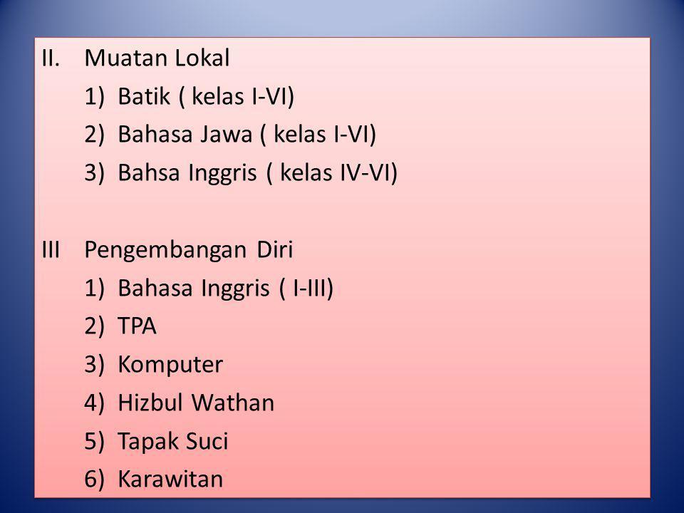 Muatan Lokal 1) Batik ( kelas I-VI) 2) Bahasa Jawa ( kelas I-VI) 3) Bahsa Inggris ( kelas IV-VI)