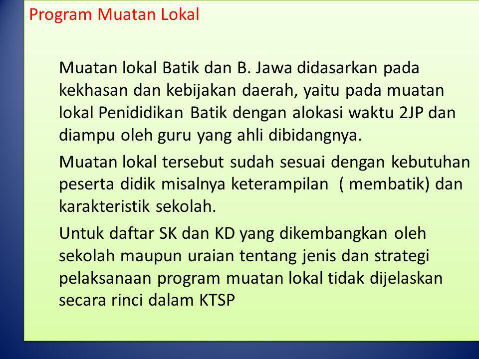 Program Muatan Lokal Muatan lokal Batik dan B