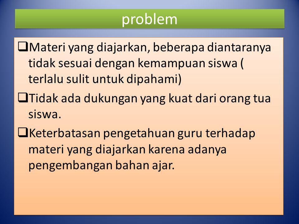 problem Materi yang diajarkan, beberapa diantaranya tidak sesuai dengan kemampuan siswa ( terlalu sulit untuk dipahami)