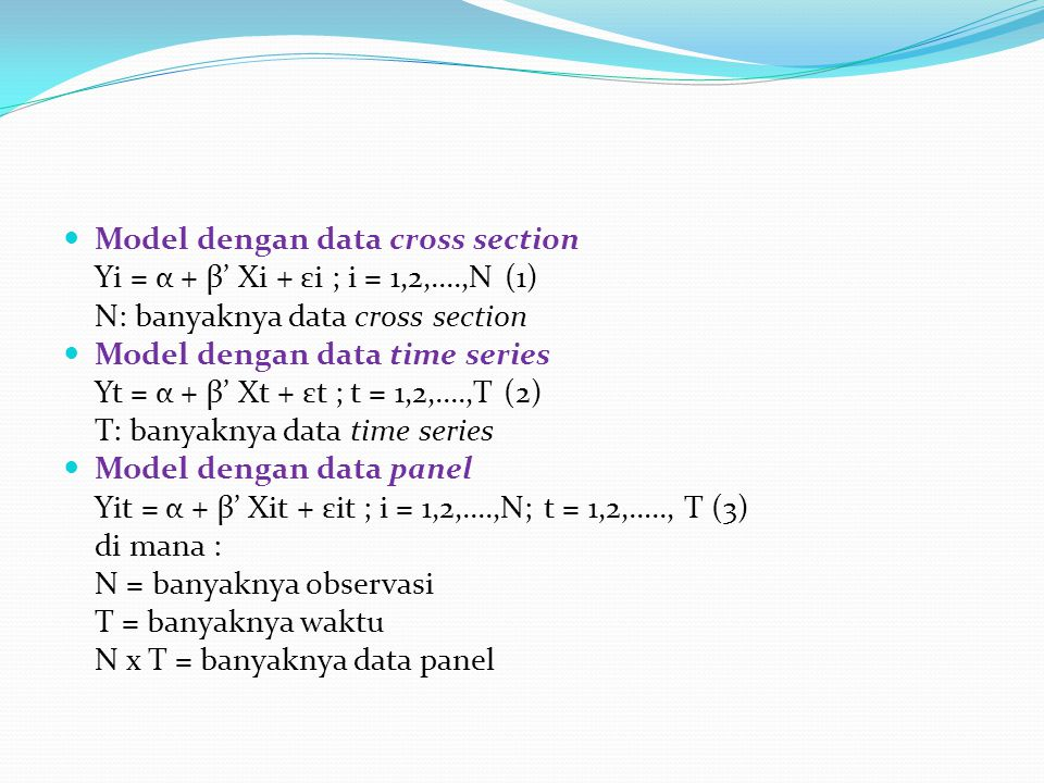 Model dengan data cross section
