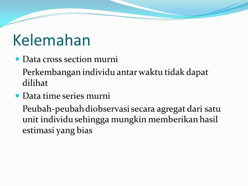 Kelemahan Data cross section murni