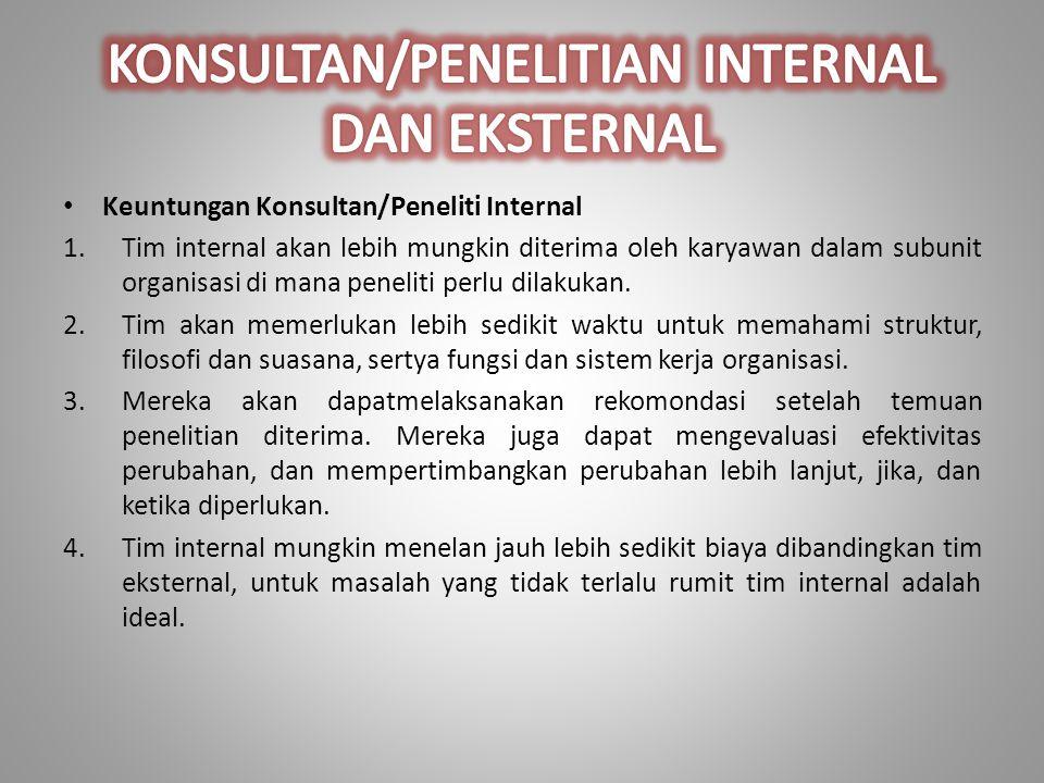 KONSULTAN/PENELITIAN INTERNAL DAN EKSTERNAL