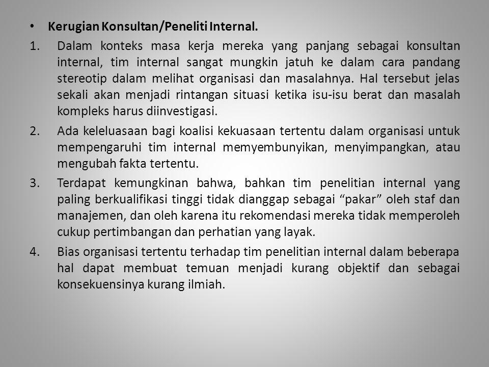 Kerugian Konsultan/Peneliti Internal.