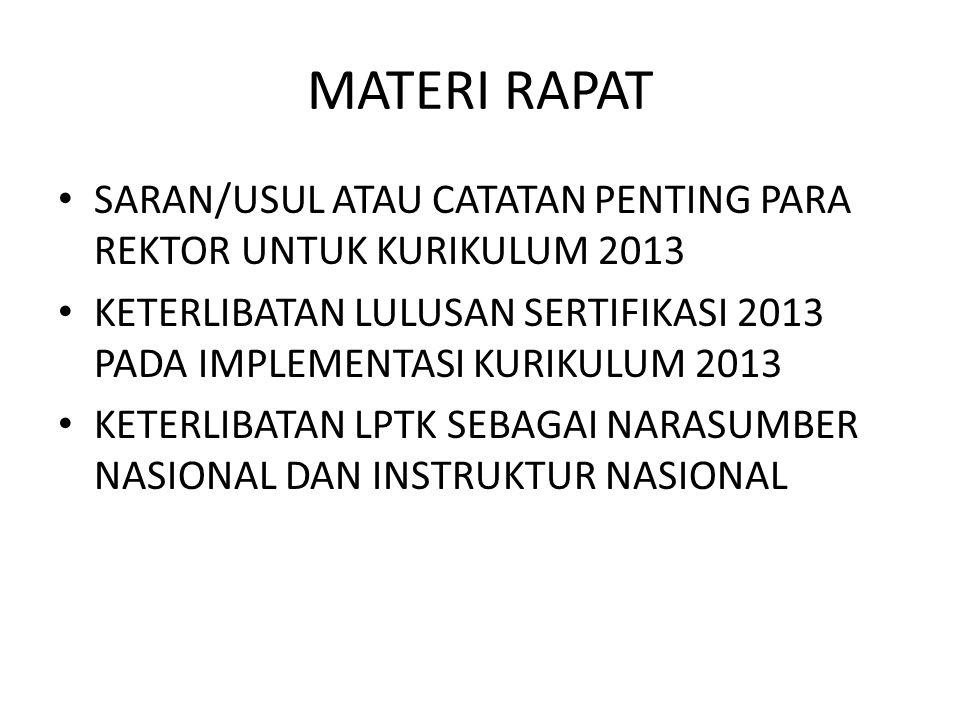 MATERI RAPAT SARAN/USUL ATAU CATATAN PENTING PARA REKTOR UNTUK KURIKULUM 2013.